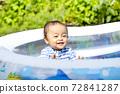 한여름 더운 날 밖에서 수영장에서 수영하는 아이 귀여운 미소의 아이들 72841287