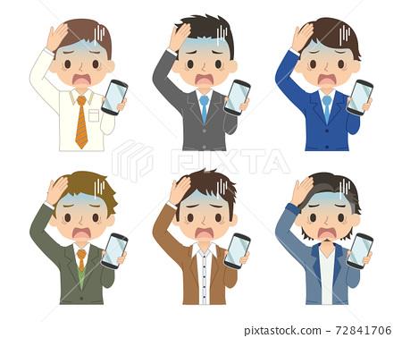 一套男性與衝的藍臉和智能手機的插圖 72841706