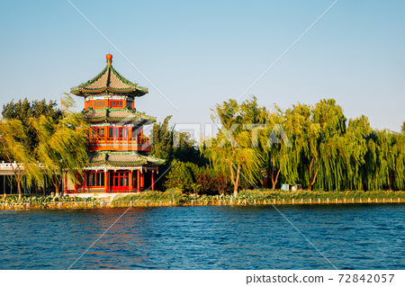 Shichahai Houhai lake and Chinese traditional pavilion in Beijing, China 72842057