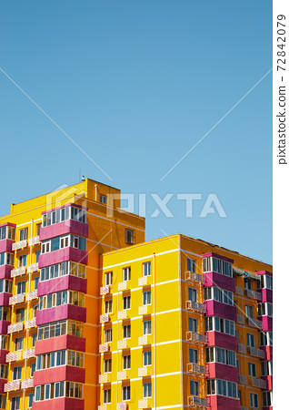 Yellow modern apartment building in Beijing, China 72842079
