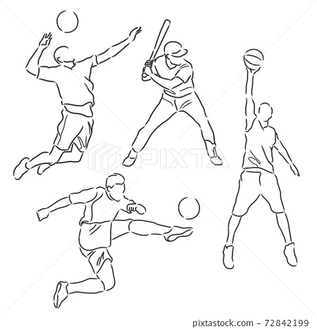 simple sketch of various sports athletes vector illustration 72842199