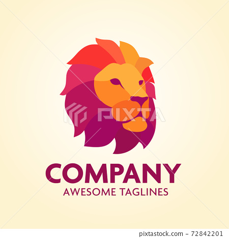 Colorful Creative Lion Head Logo Design Symbol Vector Illustration 72842201