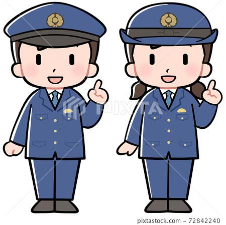 警察男孩和女孩舉起食指 72842240