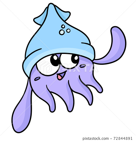 cute kid squid laugh, doodle kawaii. doodle icon image 72844891