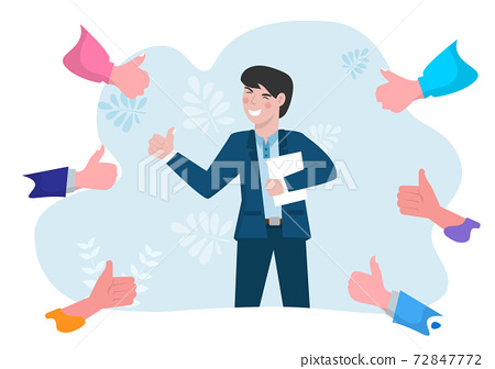 Business people give thumbs up to young men who are successful and achieve their goals. 72847772