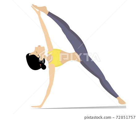 Young woman with lithe figure doing sport or yoga exercises illustration. Young woman with lithe figure bends a body isolated on white  72851757