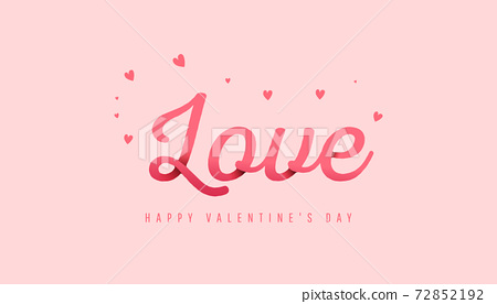Trendy minimal composition with paper text love on powdery background for flyers, invitation, poster, brochure, banner, wallpaper. Happy Valentine Day banner. 72852192