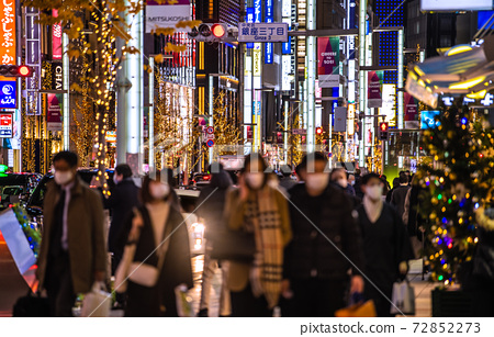 Tokyo cityscape of Japan New corona, no longer a city infection, infection explosion. Still, people in Ginza, people ... = December 23 72852273