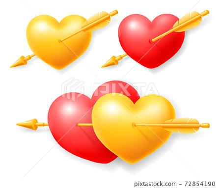 Set Of Hearts Pierced By Cupid Arrow 72854190