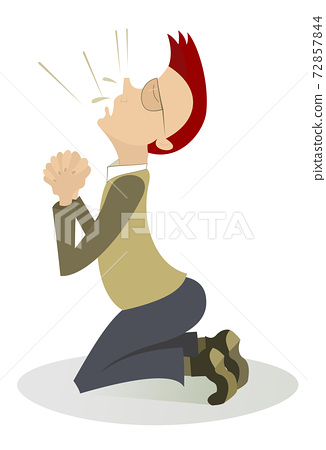 Men is praying in the kneel illustration 72857844