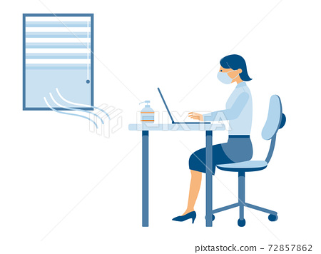 採取預防感染措施並進行文書工作的女士(淺色) 72857862