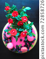 Delicious cake with fresh strawberries, raspberries, blueberry, currants. cut piece of cake and blade on wooden background. 72858726