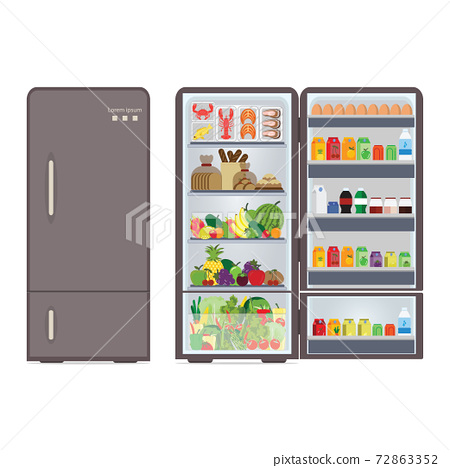 Modern closed and opened refrigerator full of food and drink. 72863352