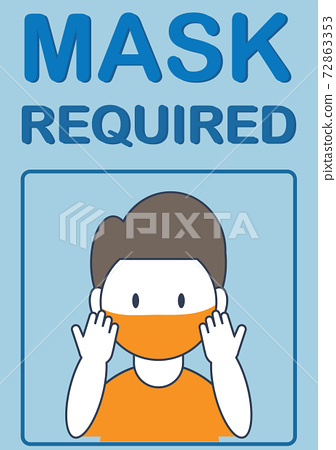 Mask required healthy banner.Man wearing face mask 72863353