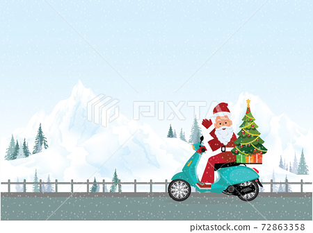 Christmas greeting card with christmas santa claus riding a motorcycle on road in winter 72863358