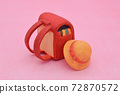 Red school bag made of clay on pink background, yellow hat 72870572