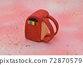 Red school bag made of clay on a pink background 72870579