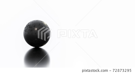 black sphere ball with rusty metal steel surface 3d render illustration 72873295