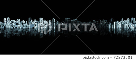 abstract futuristic dark city night sky line 360 degree panorama with simple shapes 3d render illustration 72873301