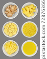 Fresh ginger root in white bowls, over gray. Whole and peeled rhizomes, slices and strips, grated and as juice. Zingiber officinale, used as spice and as folk medicine. Food photo, closeup from above. 72876366