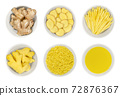 Fresh ginger root in white bowls, over white. Whole and peeled rhizomes, slices and strips, grated and as juice. Zingiber officinale, used as spice and as folk medicine. Food photo closeup from above. 72876367