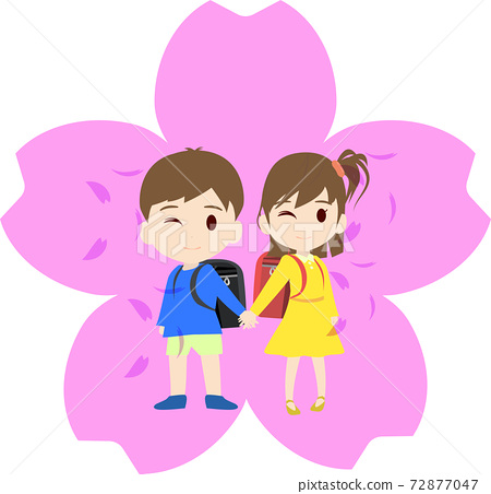Illustration of cherry blossom mark and school bag and first grader 72877047