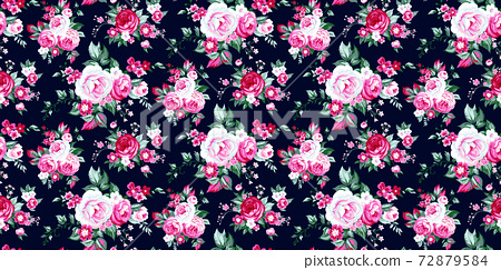 Seamless pattern with vintage roses 72879584