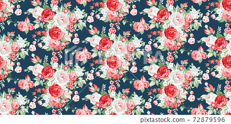 Seamless pattern with vintage roses 72879596