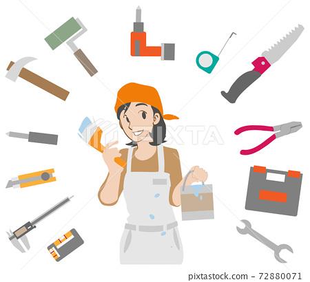 페인트를 바르는 DIY 여자와 도구 세트 72880071