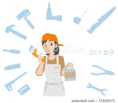 페인트를 바르는 DIY 여자 72880072