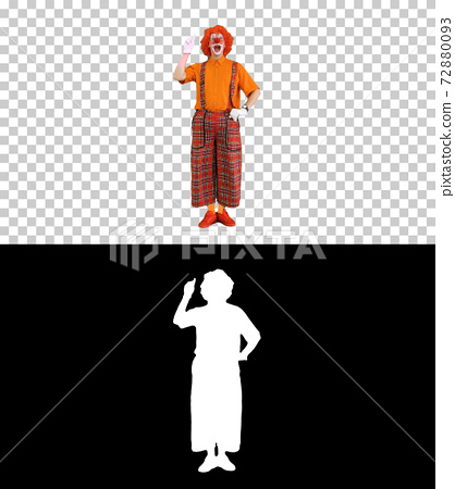 Clown pointing a finger up having and idea and thinking, Alpha C 72880093