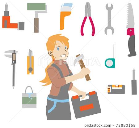 망치로 DIY 여자와 도구 세트 72880168