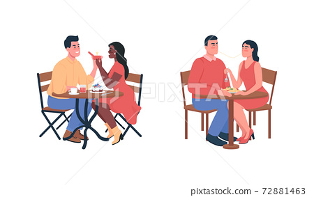 Couple during romantic dinner flat color vector detailed characters set 72881463