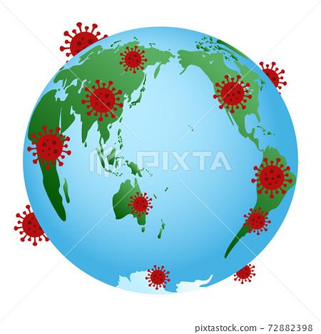 신종 코로나 바이러스 감염 확대 이미지 만연 지구 세계지도 외국 일본 72882398