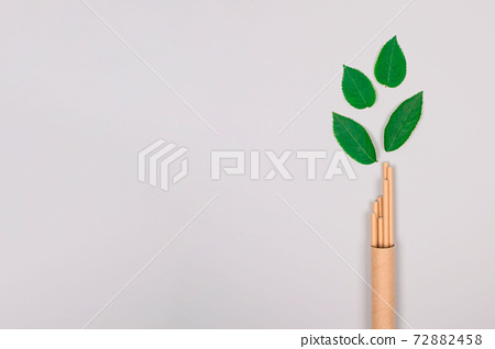 Mockup of brown paper straws packed in kraft paper tube or container with green leaves around it, on light gray background with copyspace. Sustainable lifestyle, zero waste concept 72882458