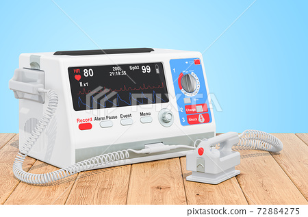 Automated external defibrillator on the wooden planks, 3D rendering 72884275