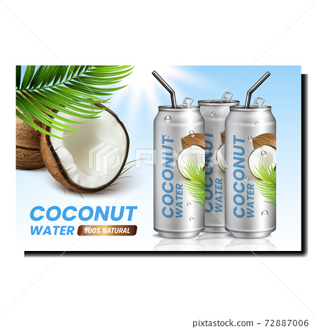 Coconut Water Creative Promotional Poster Vector 72887006