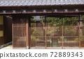 격자 문이있는 풍경, 경관의 찻집. 72889343