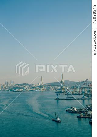 Panorama view of Busan harbor in Busan, Korea 72889548