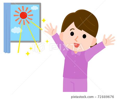曬日光浴的女人的插圖 72889676
