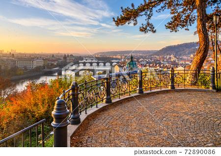Prague Bridges in sunny autumn morning 72890086