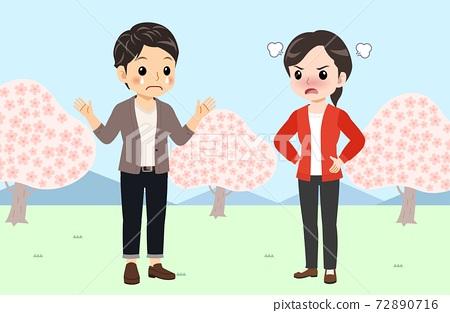 벚꽃, 커플, 연인 72890716