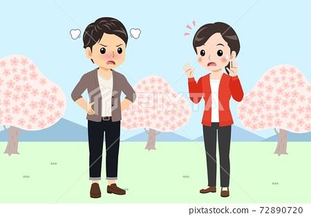 벚꽃, 커플, 연인 72890720