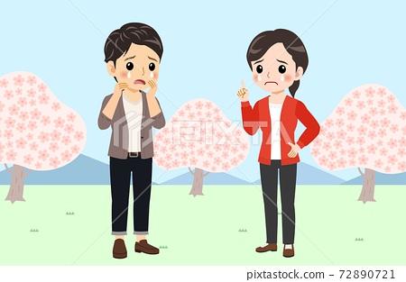 벚꽃, 커플, 연인 72890721