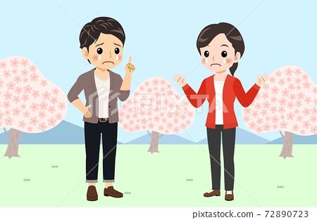 벚꽃, 커플, 연인 72890723