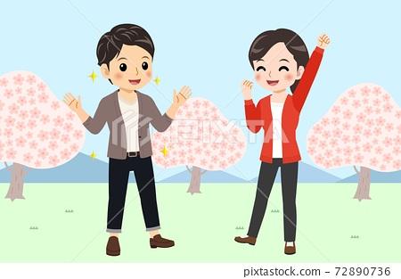 벚꽃, 커플, 연인 72890736