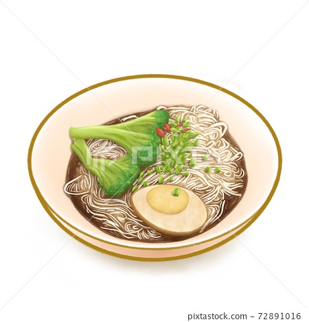 The digital painting of Taiwan thin noodles with sesame oil, Taiwanese traditional famous food isometric icon raster illustration on white background. 72891016