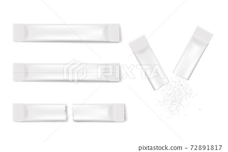 White stick pack mockup template set - realistic blank sugar packets 72891817