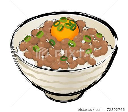 Egg natto rice 72892766