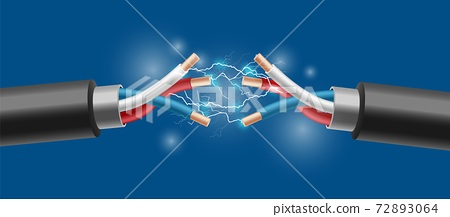 Electric cable with electrical sparks a realistic vector 3d illustration 72893064